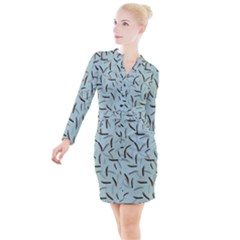 Feathers Button Long Sleeve Dress by chihuahuadresses