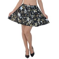 Background Star Christmas Advent Velvet Skater Skirt