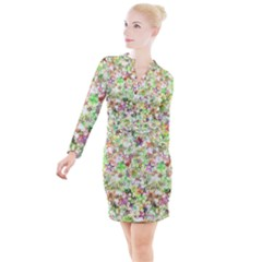 Background Christmas Star Advent Button Long Sleeve Dress by Bejoart