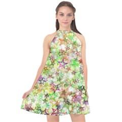 Background Christmas Star Advent Halter Neckline Chiffon Dress