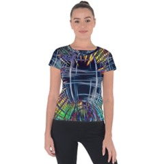 Color Background Structure Lines Short Sleeve Sports Top  by Bejoart