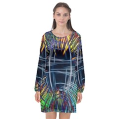 Color Background Structure Lines Long Sleeve Chiffon Shift Dress