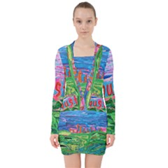 Our Town My Town V Neck Bodycon Long Sleeve Dress by arwwearableart
