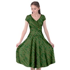 Circuit Board Electronics Draft Cap Sleeve Wrap Front Dress