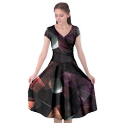 Crystals Background Design Luxury Cap Sleeve Wrap Front Dress by Bejoart