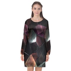 Crystals Background Design Luxury Long Sleeve Chiffon Shift Dress