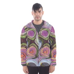 Retro Background Colorful Hippie Hooded Windbreaker (men) by Bejoart