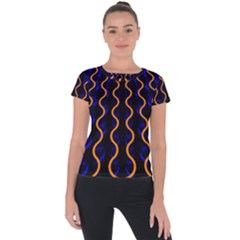 Pattern Abstract Wallpaper Waves Short Sleeve Sports Top  by Bejoart