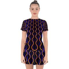 Pattern Abstract Wallpaper Waves Drop Hem Mini Chiffon Dress