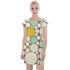Art Retro Design Style Digital Cap Sleeve Bodycon Dress by Bejoart