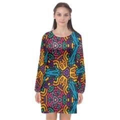 Grubby Colors Kaleidoscope Pattern Long Sleeve Chiffon Shift Dress  by Bejoart