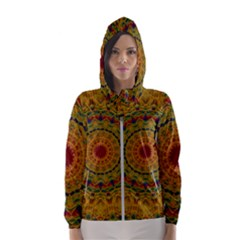 India Mystic Background Ornamental Hooded Windbreaker (women) by Bejoart