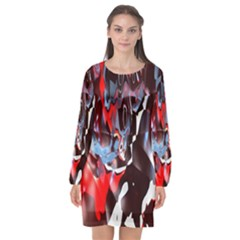 Abstract Lines Color Red Long Sleeve Chiffon Shift Dress