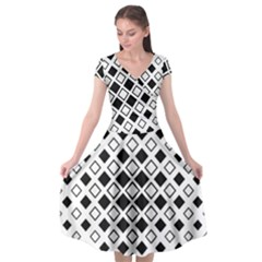 Square Diagonal Pattern Monochrome Cap Sleeve Wrap Front Dress