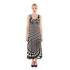 Retro Form Shape Abstract Sleeveless Maxi Dress