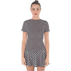 Background Pattern Halftone Drop Hem Mini Chiffon Dress by Bejoart