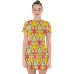 Abstract Pattern Texture Drop Hem Mini Chiffon Dress by Bejoart