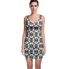 Wave Sine Pattern Wavy Halftone Bodycon Dress