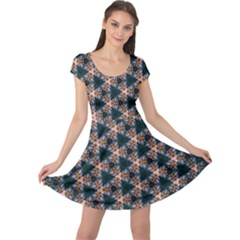 Abstract Light Fractal Pattern Cap Sleeve Dress by Bejoart