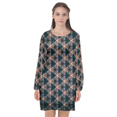 Abstract Light Fractal Pattern Long Sleeve Chiffon Shift Dress