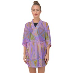 Triangle Digital Polygonal Poly Half Sleeve Chiffon Kimono by Bejoart