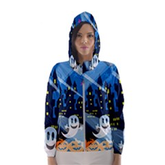 Halloween Ghosts Haunted House Hooded Windbreaker (women)