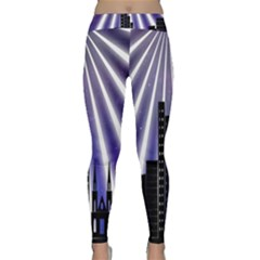 Superhero Background Lights City Classic Yoga Leggings by Wegoenart