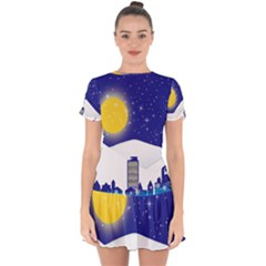 Night Christmas Background Moon Snow Drop Hem Mini Chiffon Dress by Wegoenart