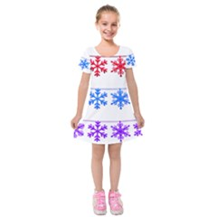 Christmas Snowflake Kids  Short Sleeve Velvet Dress