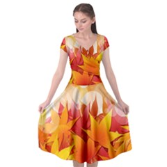 Autumn Background Maple Leaves Bokeh Cap Sleeve Wrap Front Dress by Wegoenart