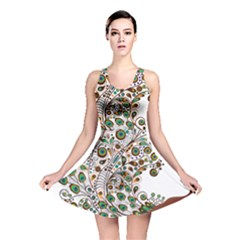 Peacock Graceful Bird Animal Reversible Skater Dress by Wegoenart