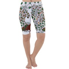 Peacock Graceful Bird Animal Cropped Leggings  by Wegoenart