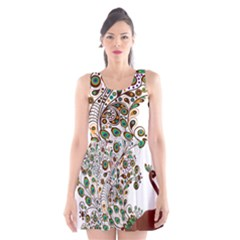 Peacock Graceful Bird Animal Scoop Neck Skater Dress by Wegoenart