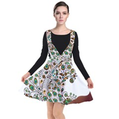 Peacock Graceful Bird Animal Plunge Pinafore Dress by Wegoenart