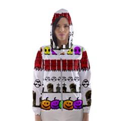 Halloween Borders Trick Or Treat Hooded Windbreaker (women) by Wegoenart