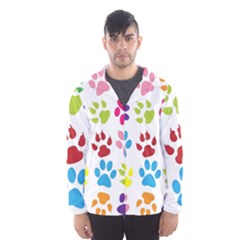 Paw Print Paw Prints Background Hooded Windbreaker (men) by Wegoenart