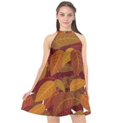 Leaves Pattern Halter Neckline Chiffon Dress  by Wegoenart