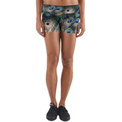 Peacock Feathers Bird Colorful Yoga Shorts by Wegoenart