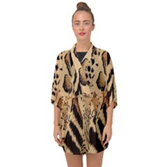 Animal Pattern Design Print Texture Half Sleeve Chiffon Kimono by Wegoenart