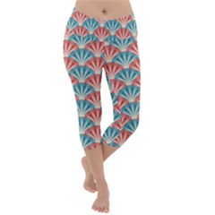 Seamless Patter Peacock Feathers Lightweight Velour Capri Yoga Leggings by Wegoenart