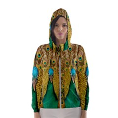 Peacock Feather Bird Peafowl Hooded Windbreaker (women) by Wegoenart