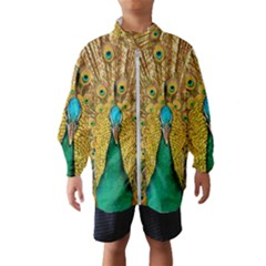 Peacock Feather Bird Peafowl Windbreaker (kids) by Wegoenart