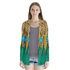 Peacock Feather Bird Peafowl Drape Collar Cardigan by Wegoenart