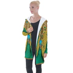Peacock Feather Bird Peafowl Longline Hooded Cardigan by Wegoenart