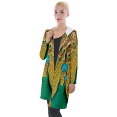 Peacock Feather Bird Peafowl Hooded Pocket Cardigan by Wegoenart