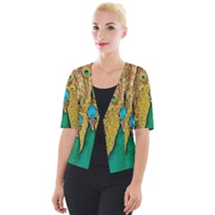 Peacock Feather Bird Peafowl Cropped Button Cardigan by Wegoenart