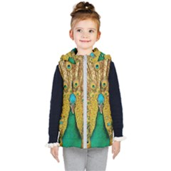 Peacock Feather Bird Peafowl Kid s Hooded Puffer Vest by Wegoenart