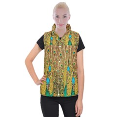 Peacock Feather Bird Peafowl Women s Button Up Vest by Wegoenart
