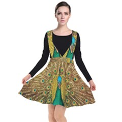 Peacock Feather Bird Peafowl Plunge Pinafore Dress by Wegoenart