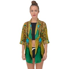 Peacock Feather Bird Peafowl Open Front Chiffon Kimono